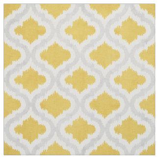 Cute yellow grey ikat Moroccan pattern Fabric