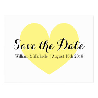 Cute yellow heart Save the date postcards