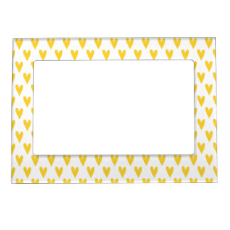 Cute Yellow Hearts Pattern | Valetine's Day Magnetic Picture Frame