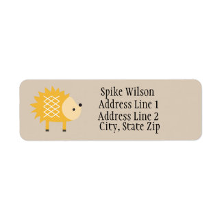 Cute Yellow Hedgehog Custom Return Address Labels