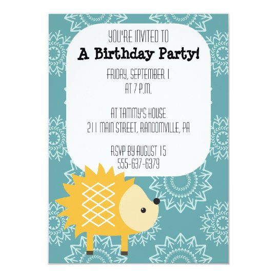 Cute Yellow Hedgehog Party Invitation