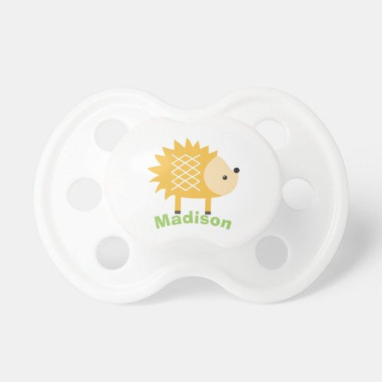 Cute Yellow Hedgehog Personalised Baby Pacifier
