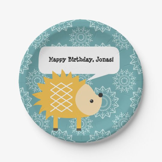 Cute Yellow Hedgehog Personalised Party Plates 7 Inch