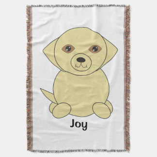 Cute Yellow Lab Dog Personalize Throw Blanket