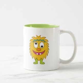 Cute Yellow Monster+Personalize Name Two-Tone Coffee Mug