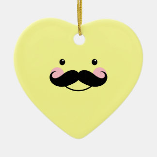 Cute Yellow Mustache Smiling Face Heart Ornament