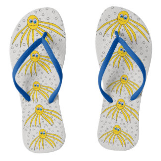 Cute Yellow Octopuses Swimming Design Flip Flops