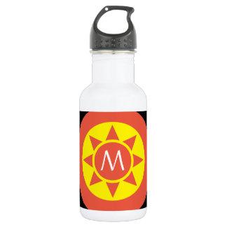 Cute Yellow & Orange Sun Shine Initialed Monogram 532 Ml Water Bottle