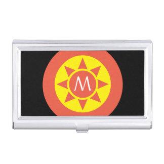 Cute Yellow & Orange Sun Shine Initialed Monogram Business Card Holder