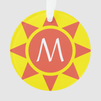 Cute Yellow & Orange Sun Shine Initialed Monogram Ornament