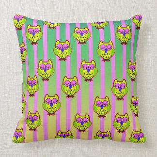 Cute yellow  owls seamless  pattern cushion