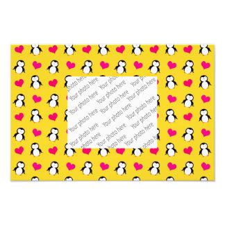 Cute yellow penguin hearts pattern photo print