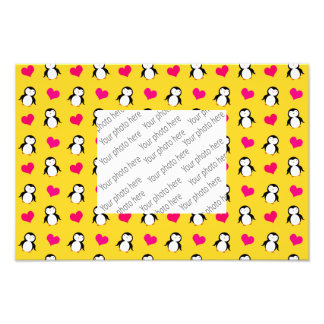 Cute yellow penguin hearts pattern photo print