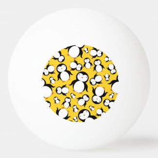 Cute yellow penguin pattern Ping-Pong ball
