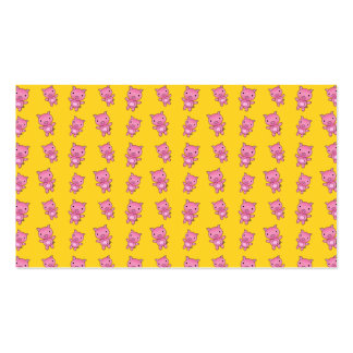 Cute yellow pig pattern business cards