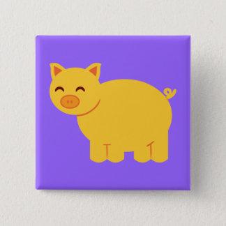 Cute Yellow Piggy 15 Cm Square Badge