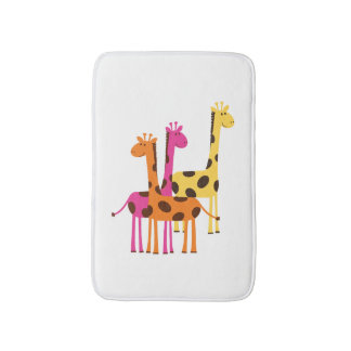 Cute Yellow, Pink and Orange Giraffes Bath Mat