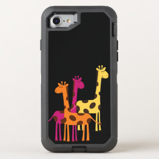 Cute Yellow, Pink and Orange Giraffes OtterBox Defender iPhone 8/7 Case