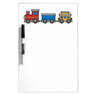Cute yellow red blue toy train custom dry erase board
