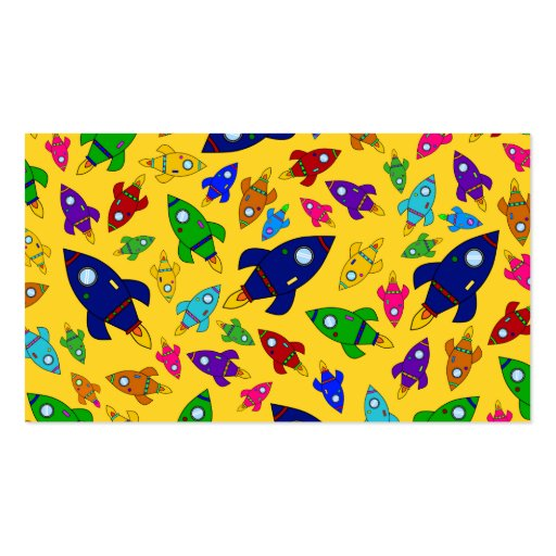 Cute yellow rocket ships pattern business cards