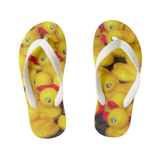 Cute yellow rubber duckies pattern kid's flip flops
