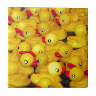 Cute yellow rubber duckies small square tile
