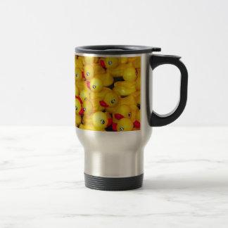 Cute yellow rubber duckies stainless steel travel mug
