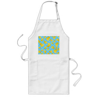 Cute yellow rubber ducks christmas blue snowflakes long apron