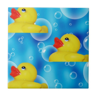 Cute Yellow Rubber Ducks Floating in Bubbles Small Square Tile