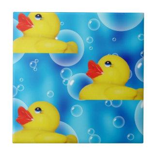 Cute Yellow Rubber Ducks Floating in Bubbles Tile