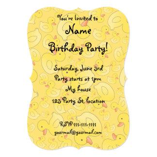 "Cute yellow rubber ducks 5"" x 7"" invitation card"