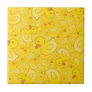 Cute yellow rubber ducks small square tile