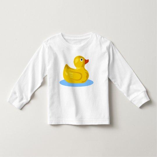 Cute Yellow Rubber Ducky Cartoon Duck Swimming Toddler T-Shirt