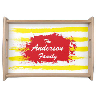 Cute Yellow STRIPES Handpainted Family Food Trays