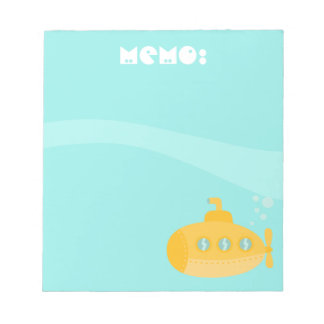 Cute Yellow Submarine under the sea, For Kids Notepad