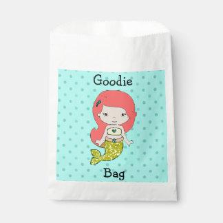 Cute Yellow & Teal  & Redhead Mermaid Goodie Bag Favour Bags