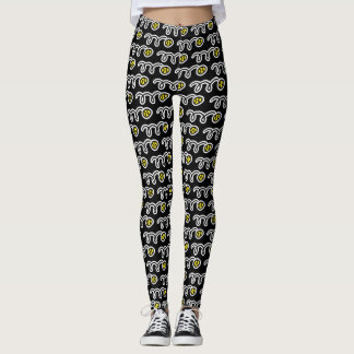 Cute yellow tennis ball pattern sports leggings