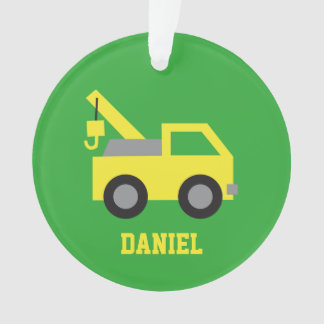 Cute Yellow Tow Truck Vehicle Boys Room Decor Ornament