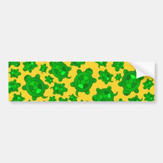 Cute yellow turtle pattern bumper sticker