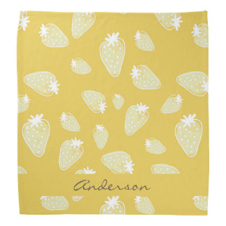 CUTE YELLOW WHITE WATERCOLOR STRAWBERRIES MONOGRAM BANDANAS