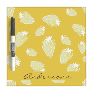 CUTE YELLOW WHITE WATERCOLOR STRAWBERRIES MONOGRAM DRY ERASE BOARD
