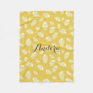 CUTE YELLOW WHITE WATERCOLOR STRAWBERRIES MONOGRAM FLEECE BLANKET