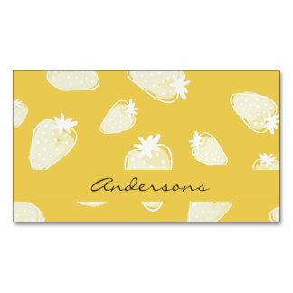 CUTE YELLOW WHITE WATERCOLOR STRAWBERRIES MONOGRAM MAGNETIC BUSINESS CARDS