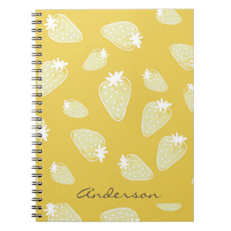 CUTE YELLOW WHITE WATERCOLOR STRAWBERRIES MONOGRAM NOTEBOOK