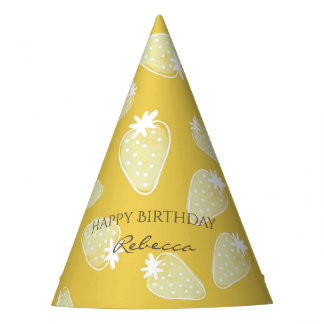 CUTE YELLOW WHITE WATERCOLOR STRAWBERRIES MONOGRAM PARTY HAT