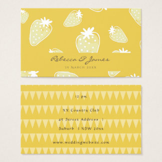 CUTE YELLOW WHITE WATERCOLOR STRAWBERRIES wedding Business Card