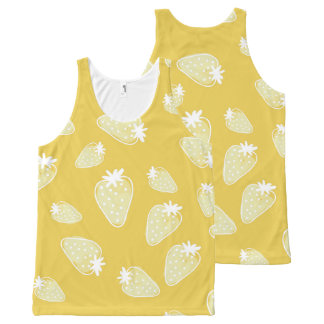 CUTE YELLOW WHITE WATERCOLOUR STRAWBERRIES All-Over PRINT TANK TOP