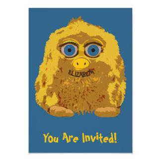 Cute Yellow Yeti Bigfoot With Big Blue Eyes 13 Cm X 18 Cm Invitation Card
