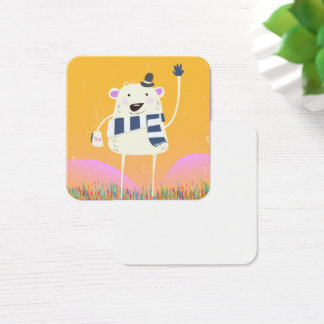 Cute Yeti With a nice hot mug of Tea Square Business Card