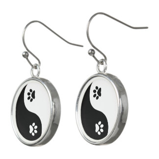 Cute Yin Yang Paws Drop Earrings